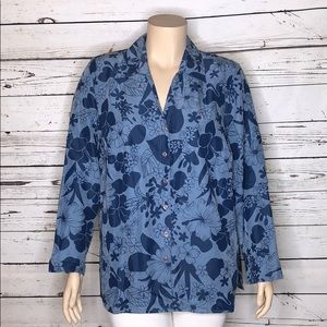 Fashion Bug NWT 22/24 Blue Floral Button Up Blouse